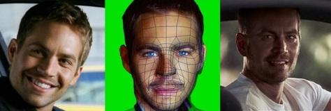Paul no processo de recriação facial por CGI: O formato original de seu rosto captado de outros filmes da saga, o processo de CGI e o resultado final.